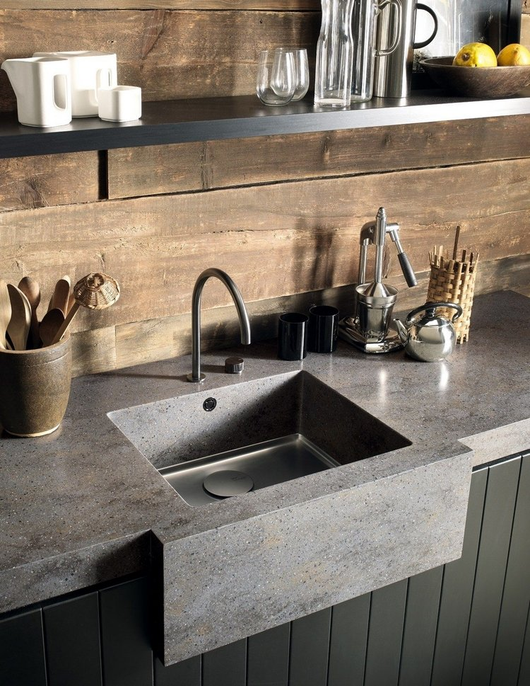 Küchenspüle Unterbau Beton Arbeitsplatte