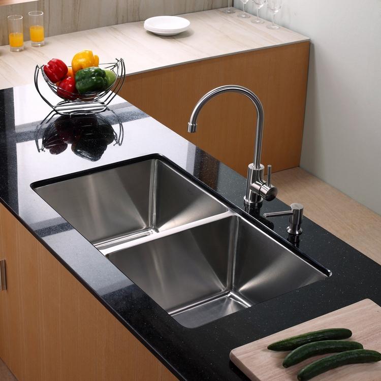 Küchenspüle doppelt Unterbau Stahl moderner Look
