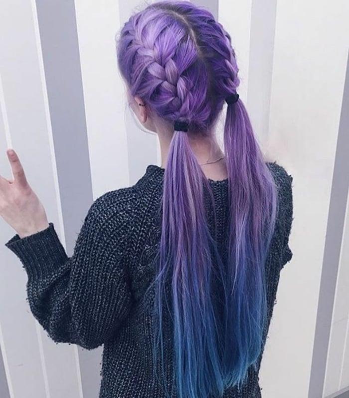 tolle Zopffrisur Haarfarbe Pastelllila
