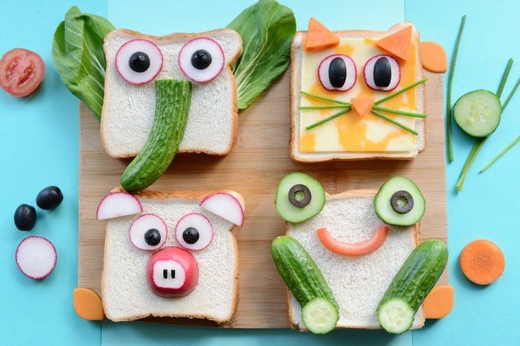 Fingerfood für Kinder lustige Sandwiches Tiere