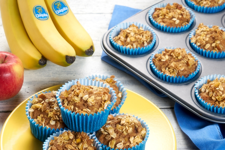 Muffins vegan Banane Haferflocken Apfel