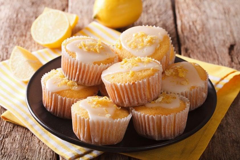 Muffins vegan Zitronenschale gerieben Zuckerguss