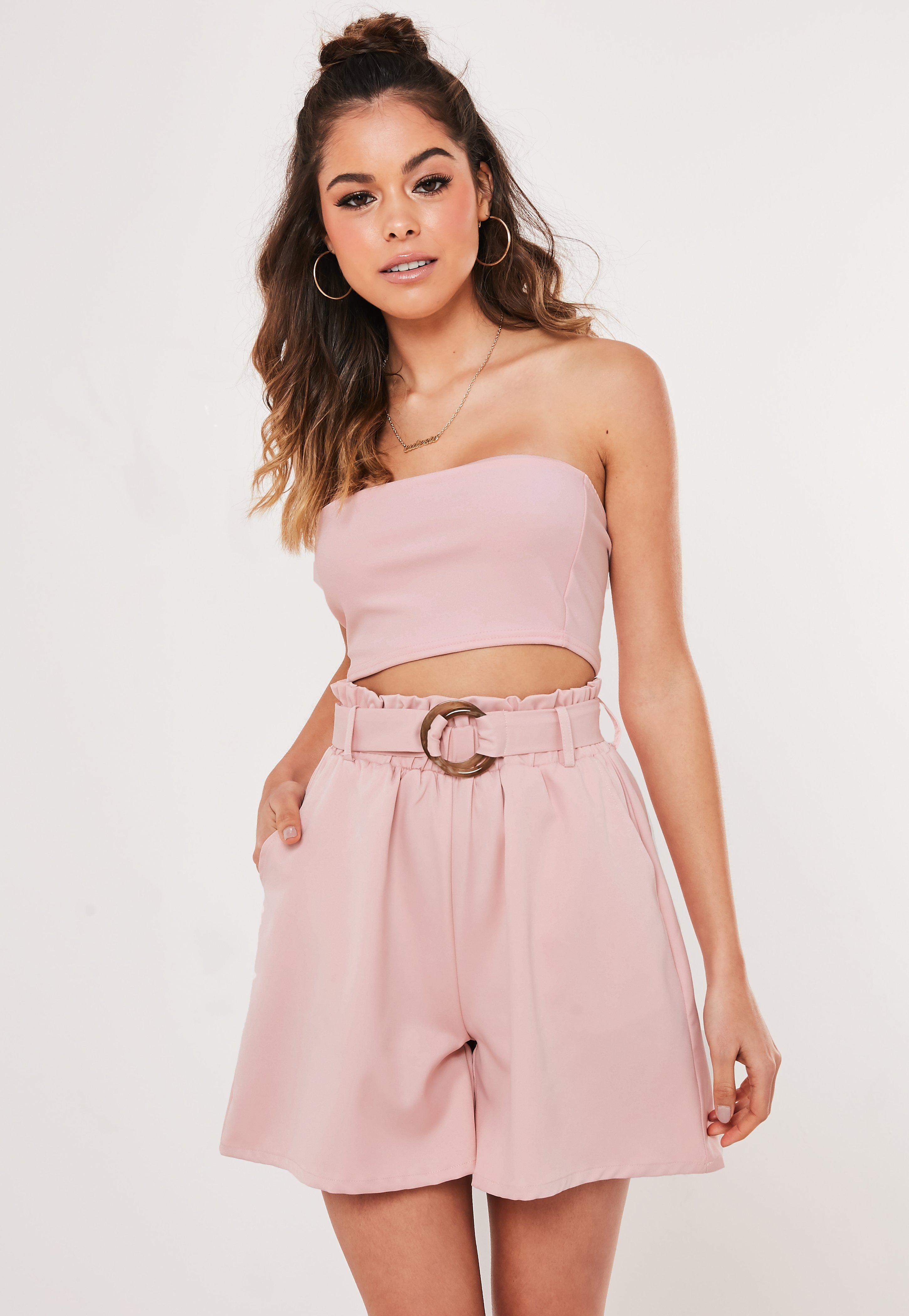 Paperbag Shorts bauchfreier Top rosa