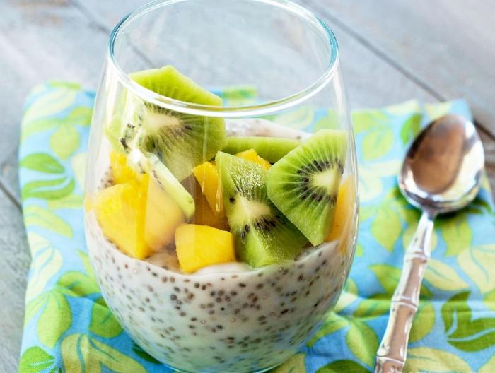 Chia Pudding mit Mango und Kiwi super lecker