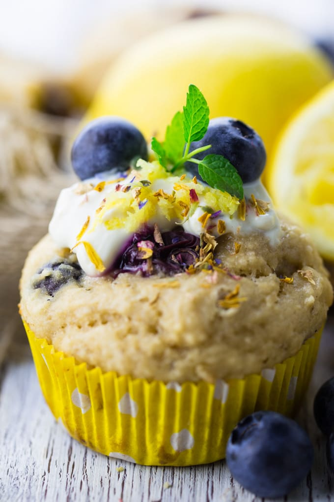 vegane Muffins mit Blaubeeren und Joghurt