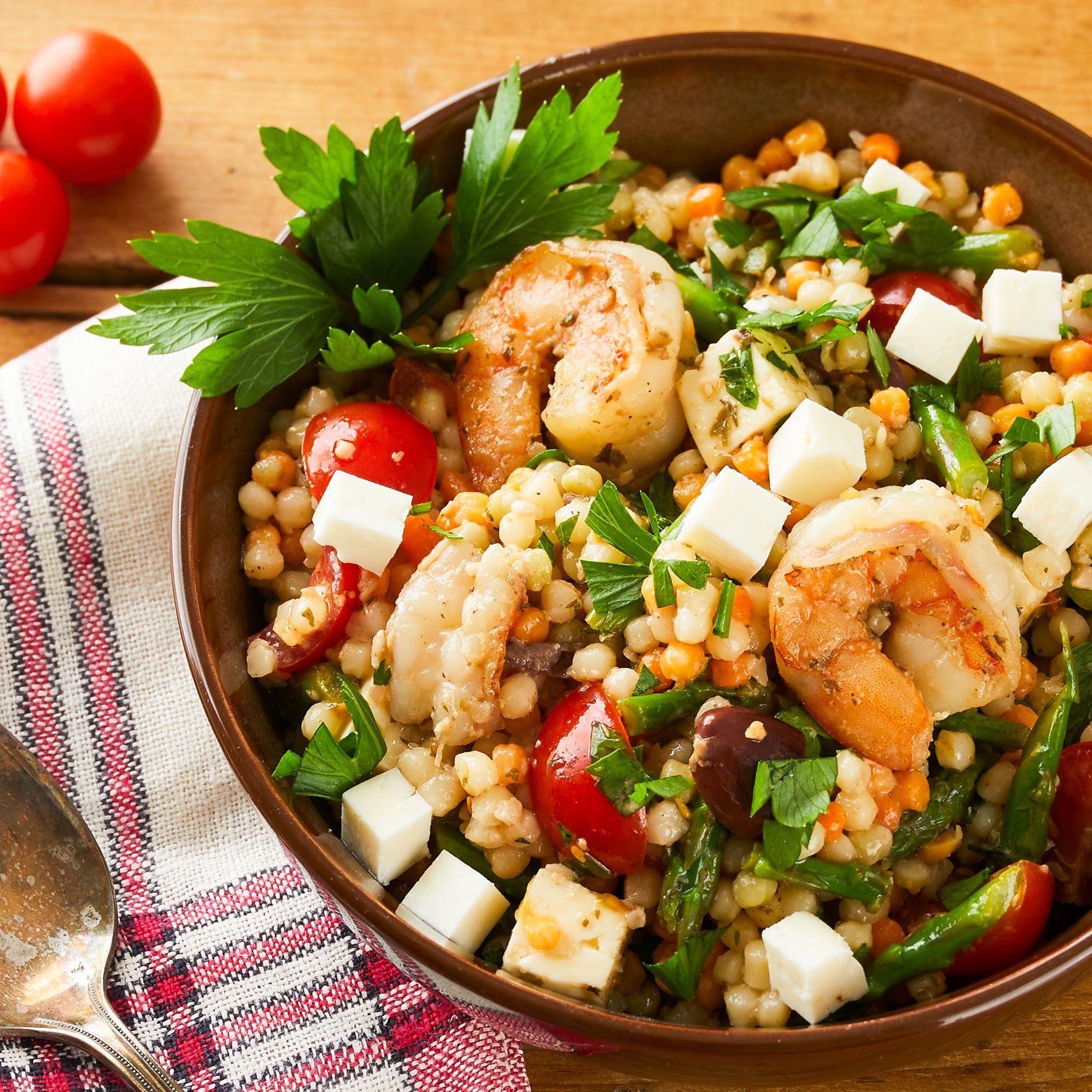Shrimps Rezepte Couscous Salat mit Feta-Käse