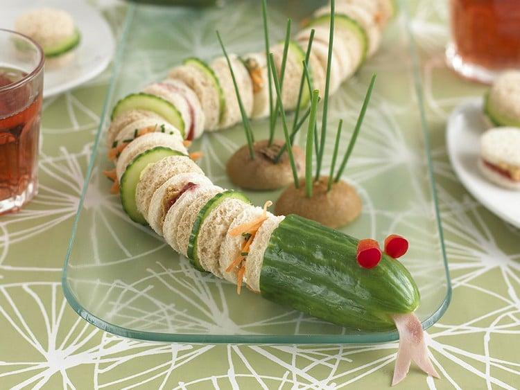 Fingerfood für Kinder Sandwiches lustige Schlange