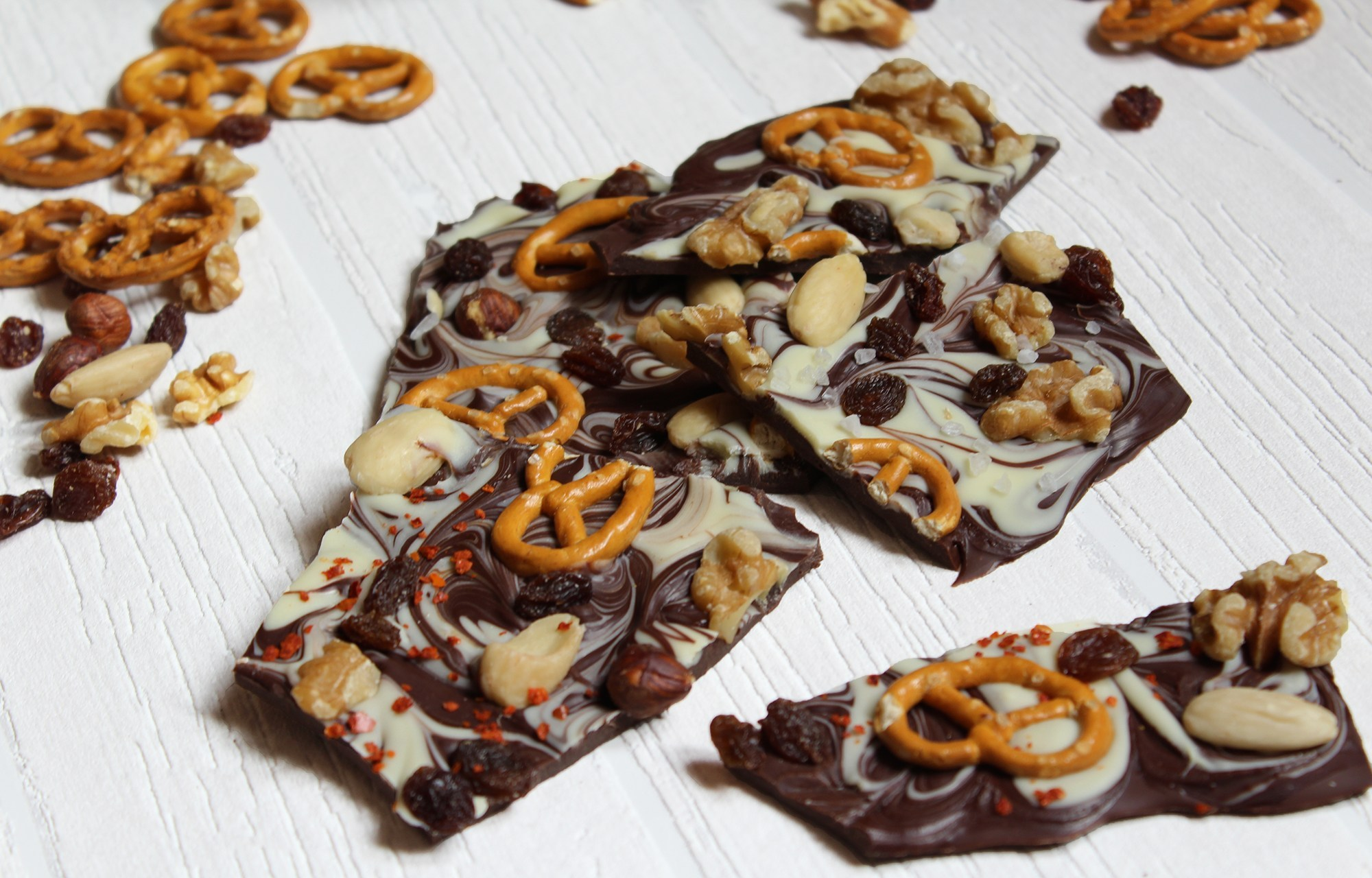 selbstgemachte Schokolade verfeinern Ideen und Anregungen Crackers
