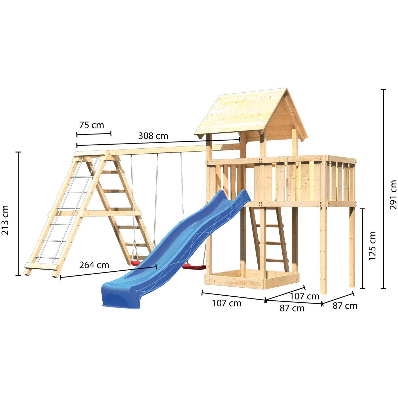 Stelzenhaus mit Klettergerüst bauen Schema