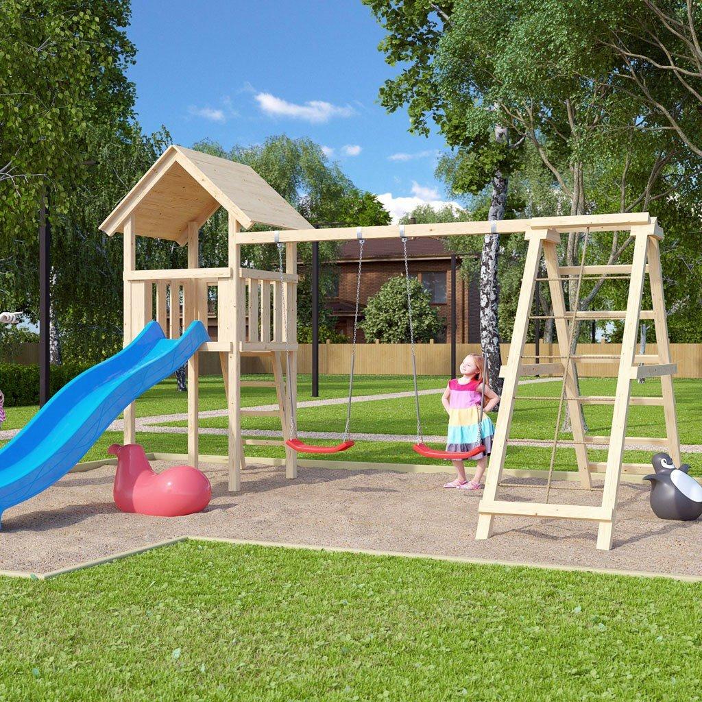 Klettergerüst bauen Stelzenhaus mit Rutsche und Schaukel