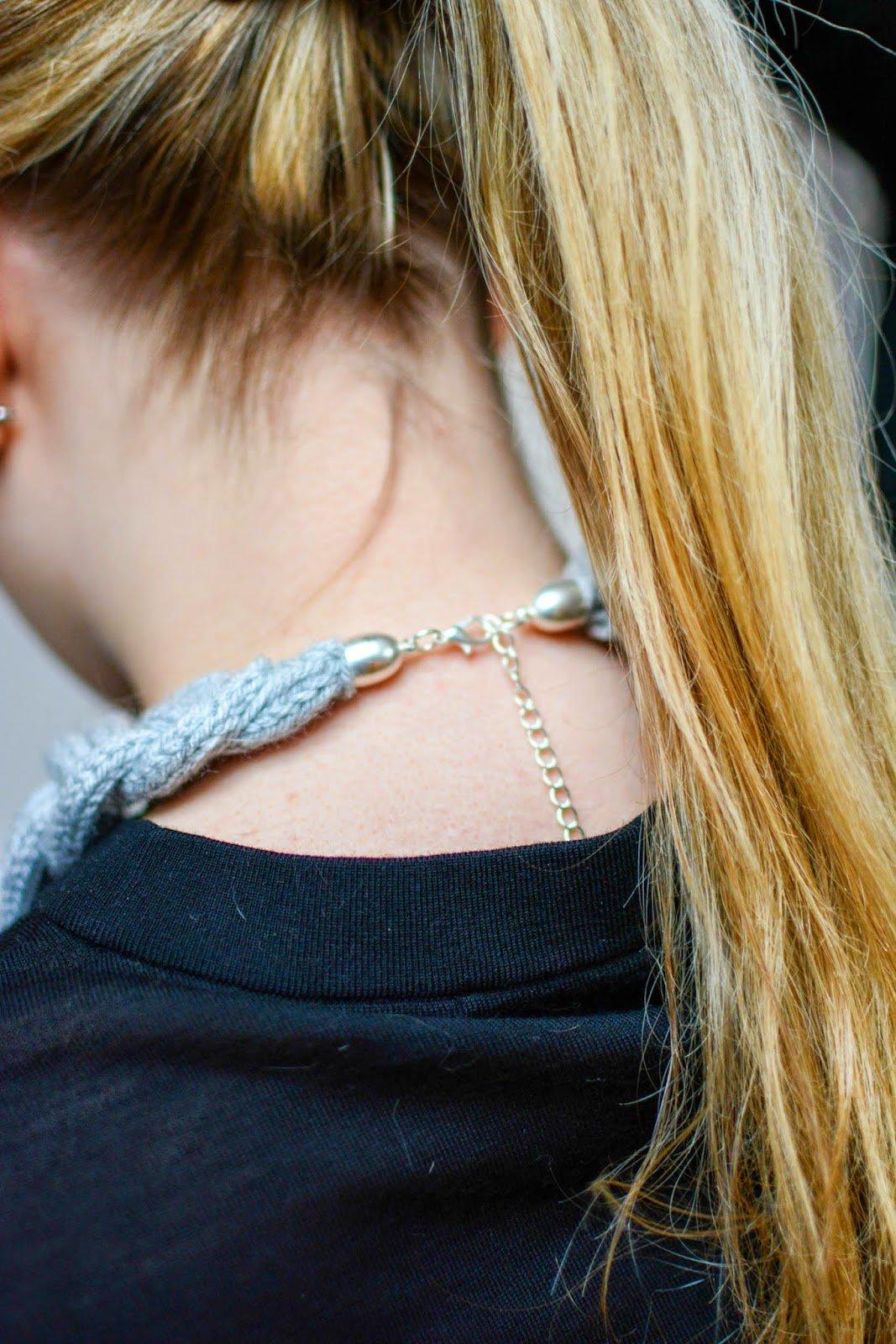 Strickliesel Halskette basteln Verschluss