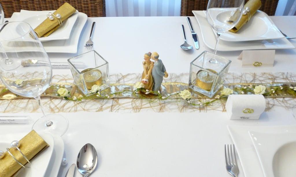 goldene Hochzeit Tischdeko tolle Ideen