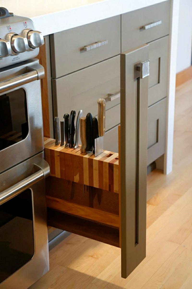 Unterschrank Küche wirklich schmall ausziehbar Messerblock