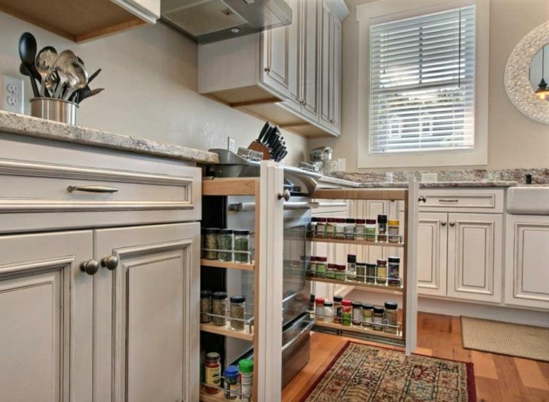 Apothekerschränke vertikal verstauen Küche praktisch