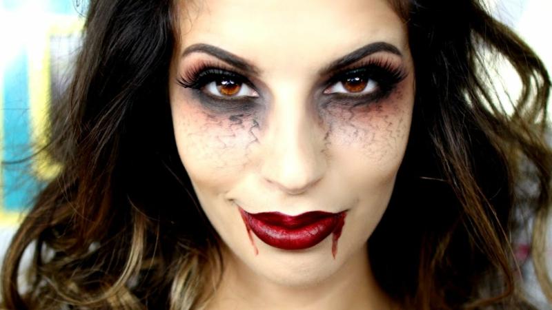 Halloween Schminken Vampir Venen unter den Augen
