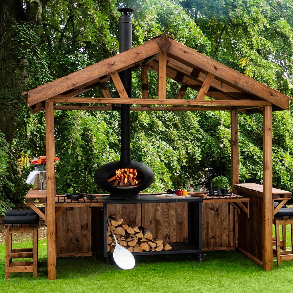 Outdoor Küche Garten Pergola Grill Stauraum Holz