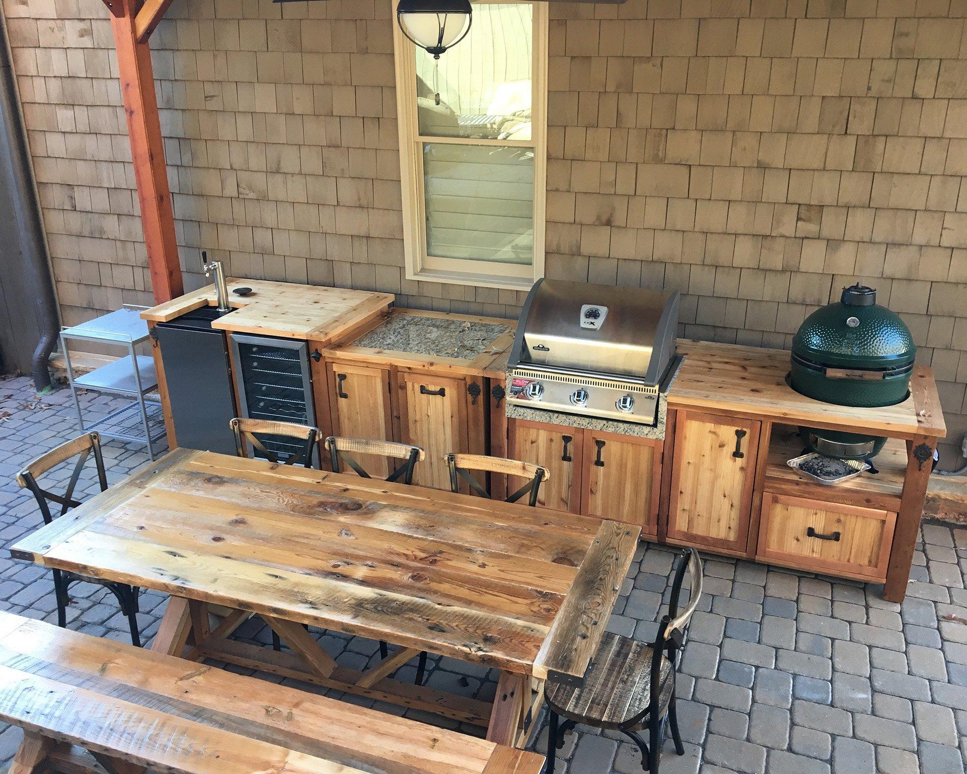 kleine Küche Terrasse Holz