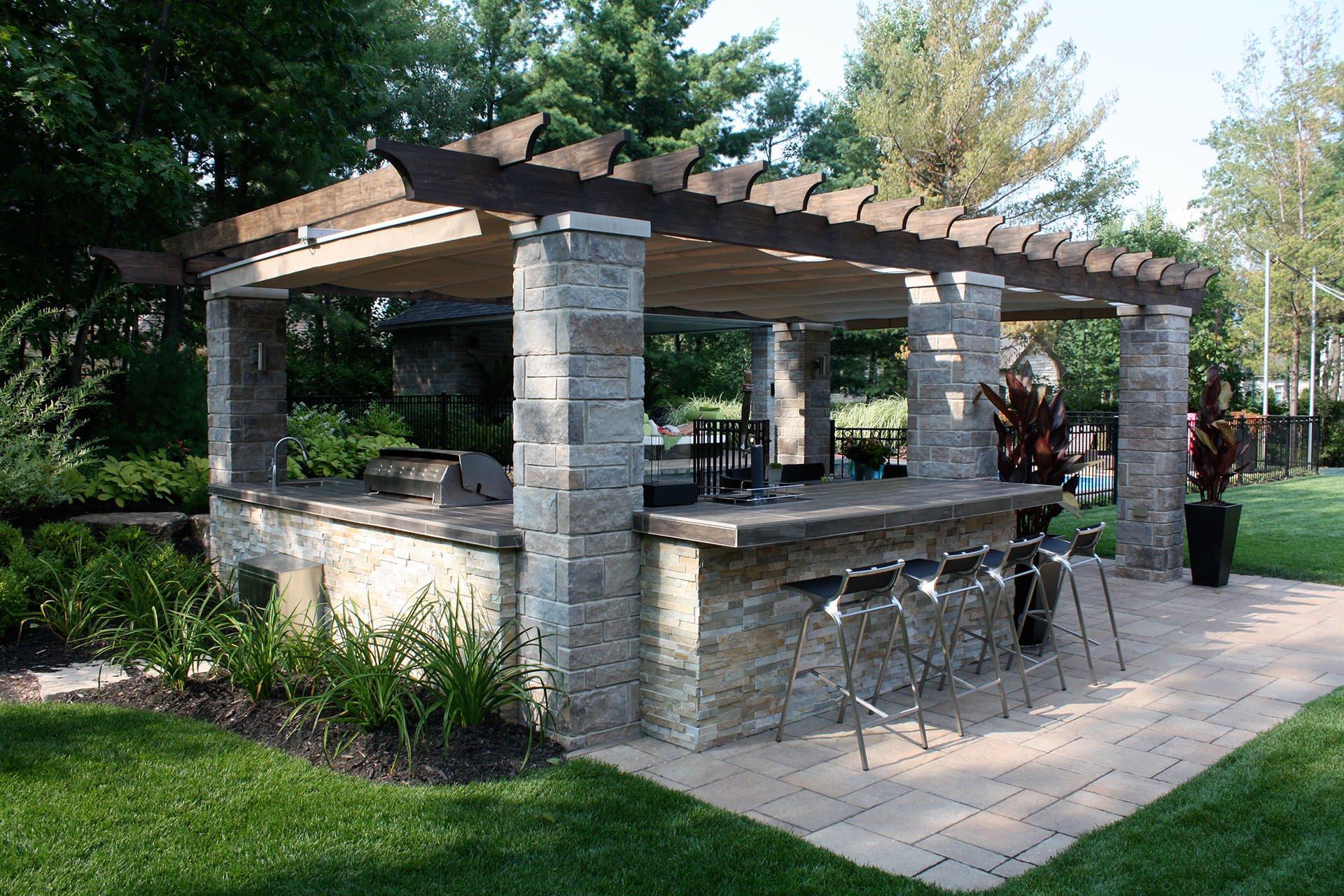 Außenküche Garten Pergola Naturstein