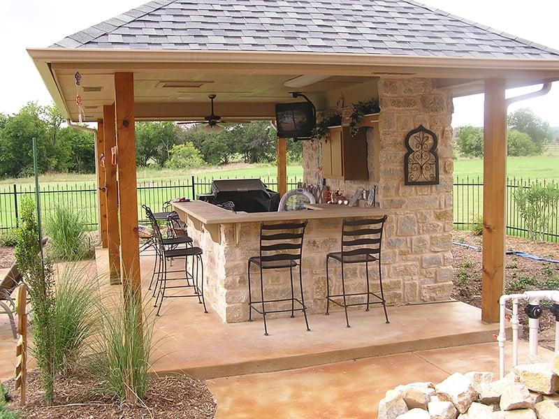 Außenküche Bar Sitzplätze Pergola Garten
