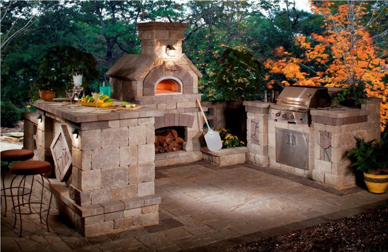 Außenküche Massivstein Kamin Grill