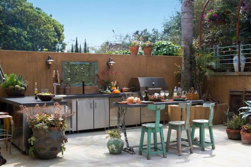 Außenküche gestalten ohne Überdachung