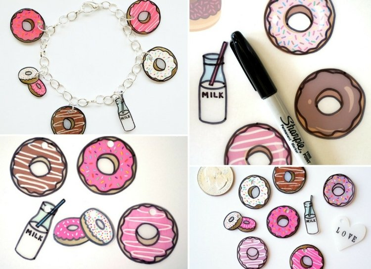 DIY Armband Schrumpffolie Donuts