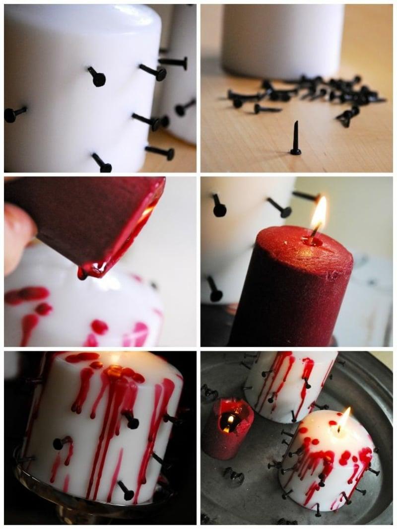 blutige Kerze machen Schritt für Schritt