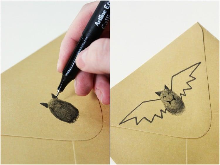 Briefumschläge dekorieren Fingerabdrücke Fledermaus