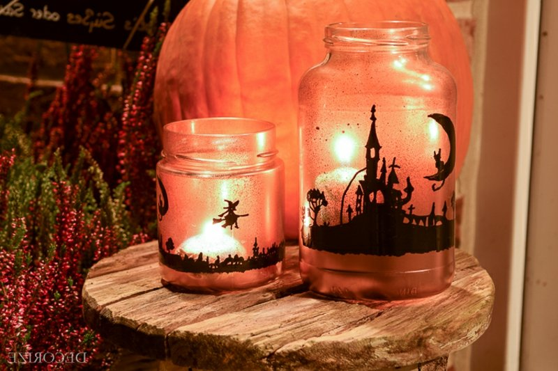 originelle Windlichter selbstgemacht Halloween Deko