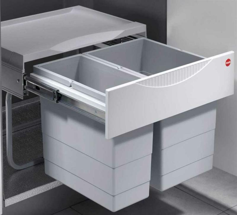 Einbau-Mülleimer Metall zwei Behälter