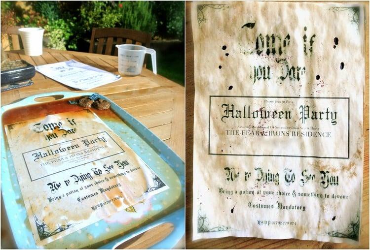 Einladungen mit Tee beflacken originell