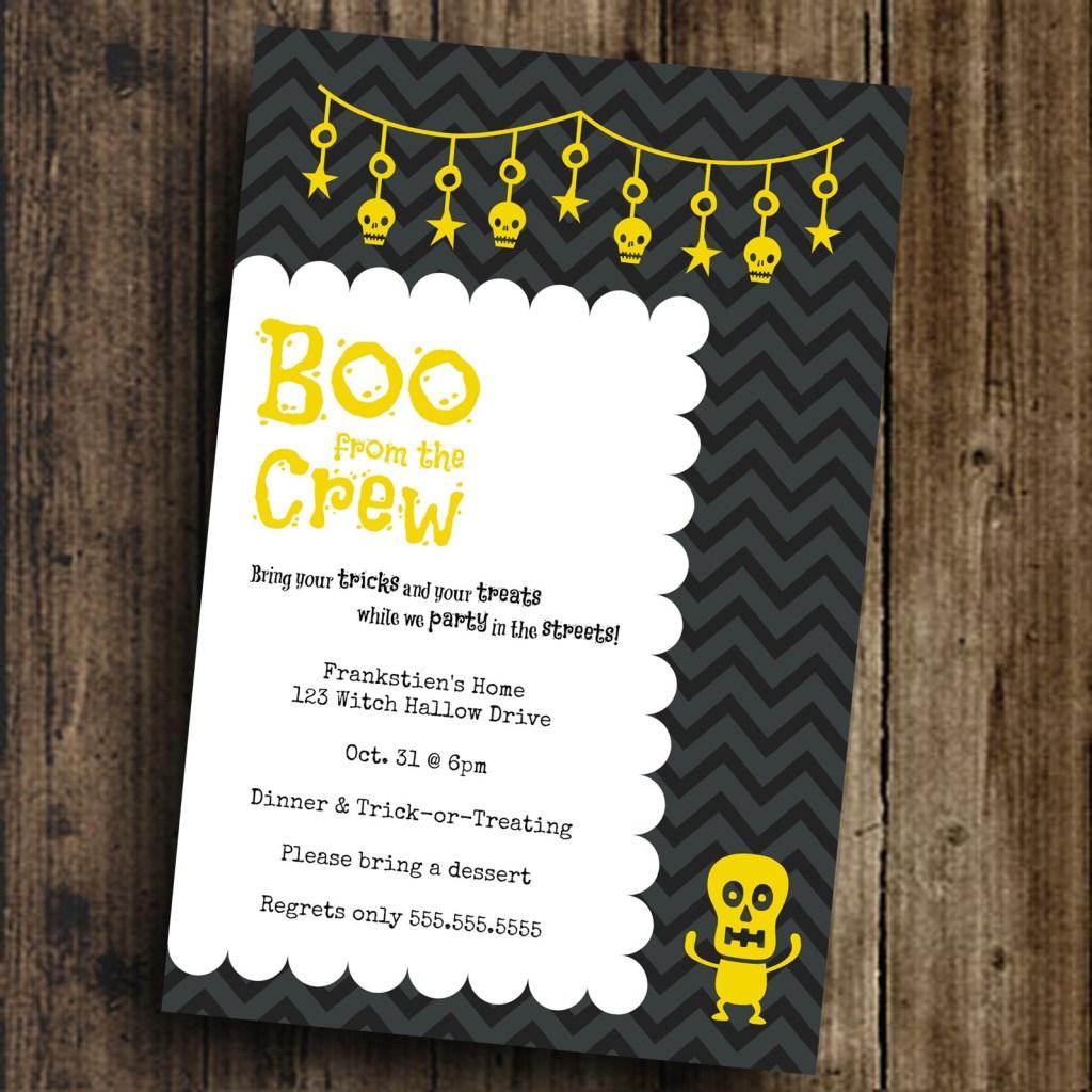 Einladungskarte Halloween Mustertext tolle Idee