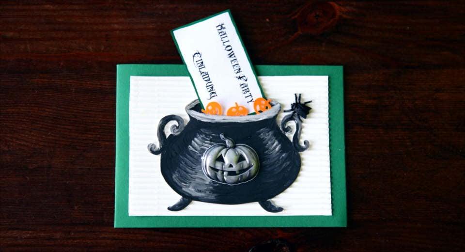 Einladungskarte Halloween Hexenkessel