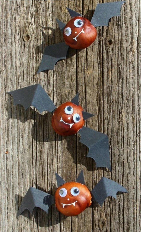 Kastanien basteln Halloween Fledermäuse