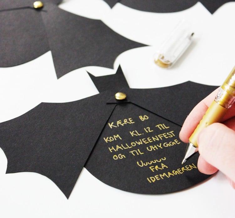 Einladung Fledermaus beschriften