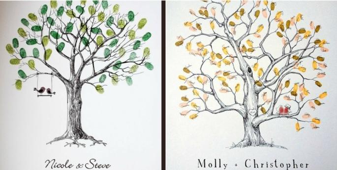 Fingerabdruck Baum originell Hochzeitsbuch