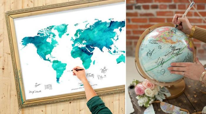 Hochzeitsbuch gestalten Globus Weltkarte
