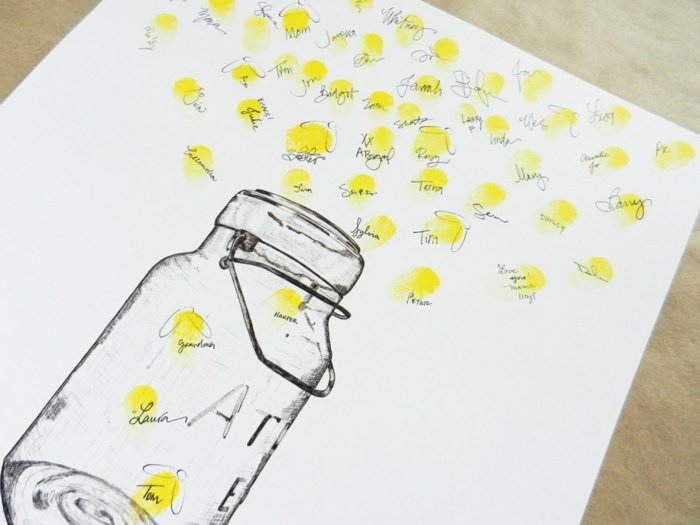 Hochzeitbuch origibell Fingerabdrücke Einmachglas Leuchtkäfer