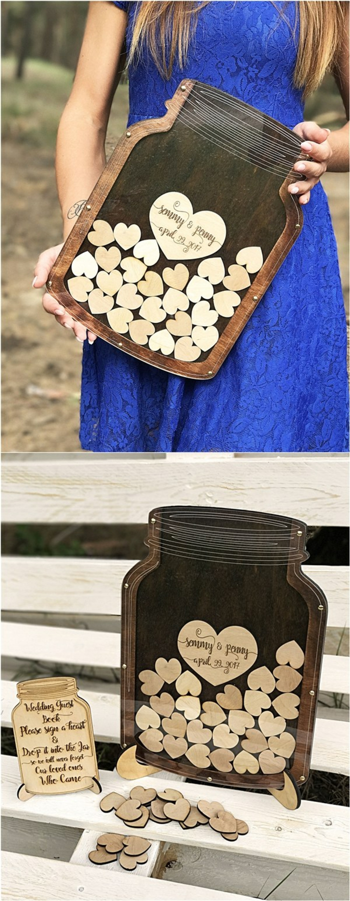 Gästebuch Hochzeit Mosaik Tafel Herzen aus Holz