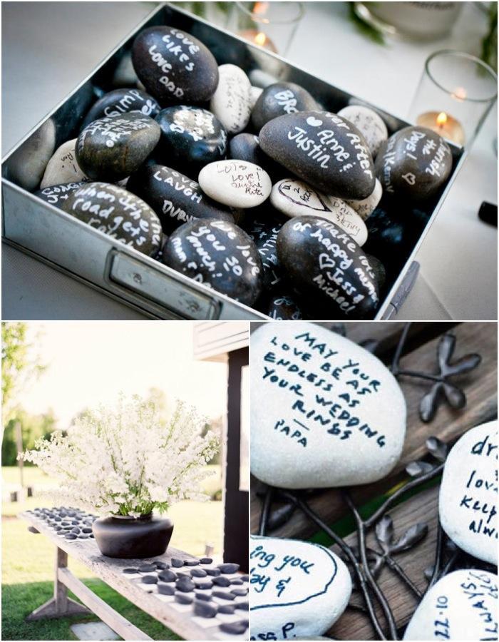 Gästebuch Hochzeit auf Steinchen schreiben