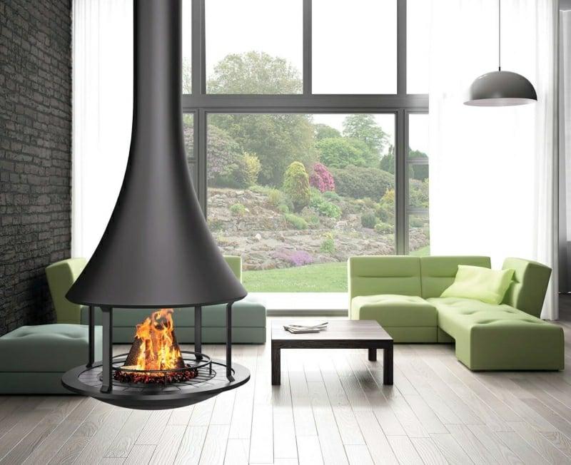 Hängekamin super modern Wohnzimmer