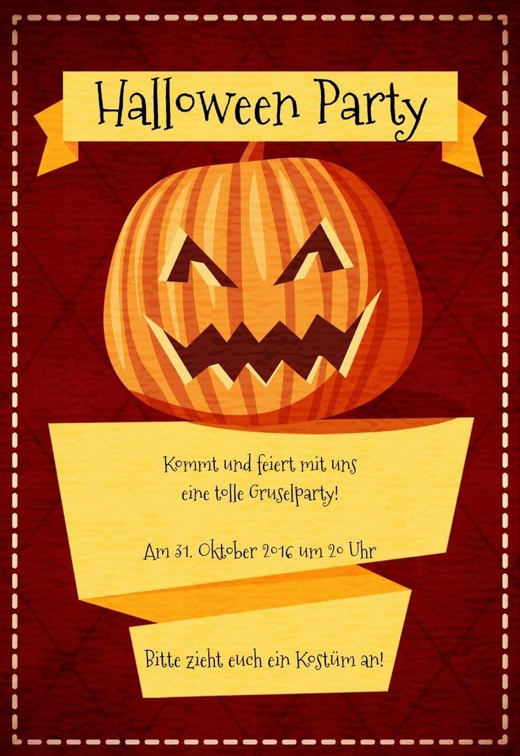 Einladungskarte Halloween kürbis Mustertext toller Look