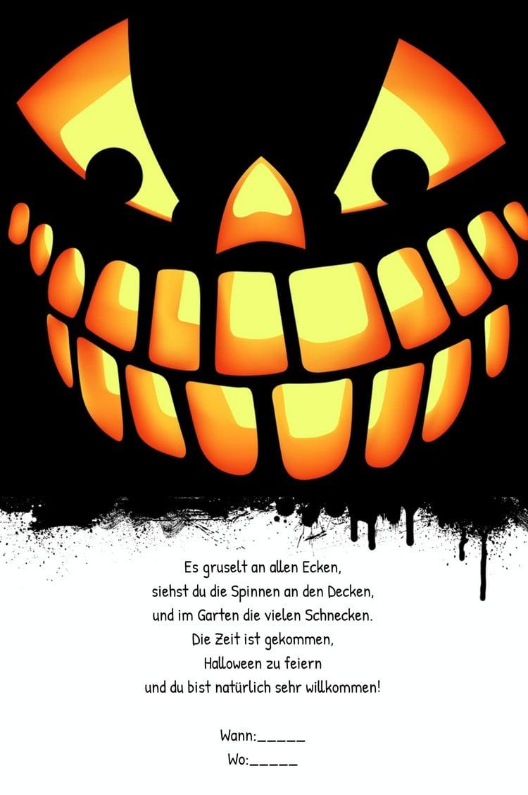 Einladungskarte Halloween Mustertext Kürbis tolles Design