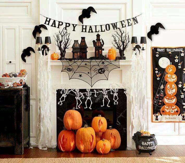 Halloween Deko Kamin wirklich eindrucksvoll