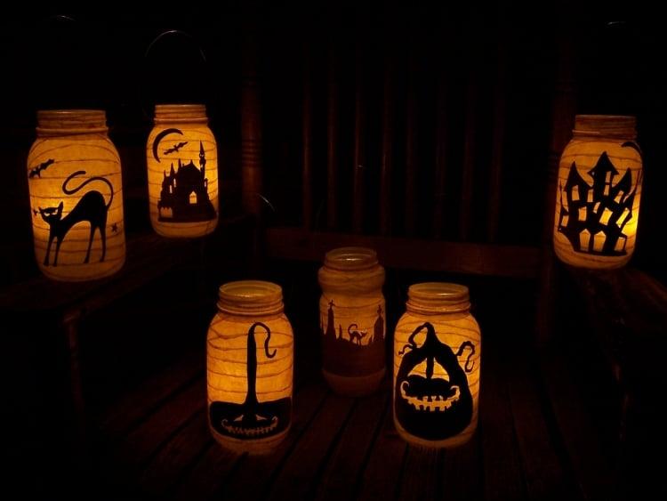 Halloween Deko tolle Windlichter basteln