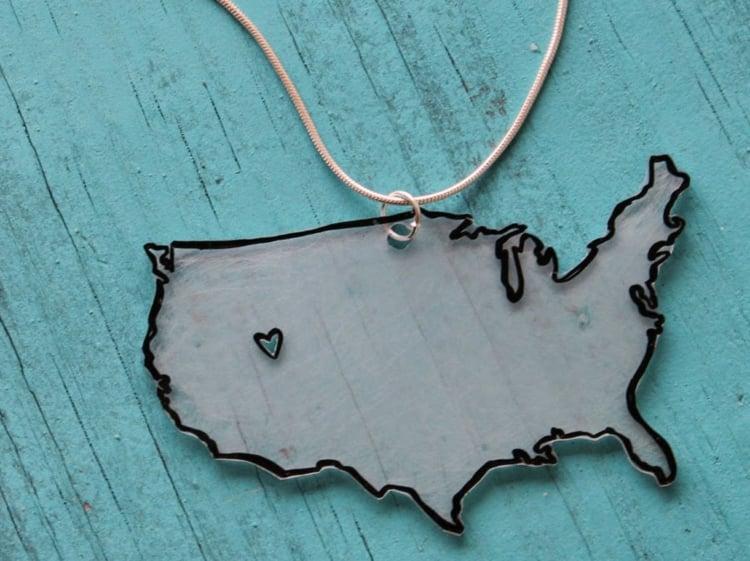 Halskette basteln Karte Heimatsstadt