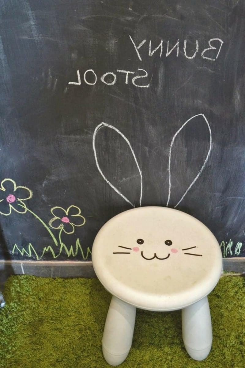 Hocker aufpeppen Hase Kinderzimmer