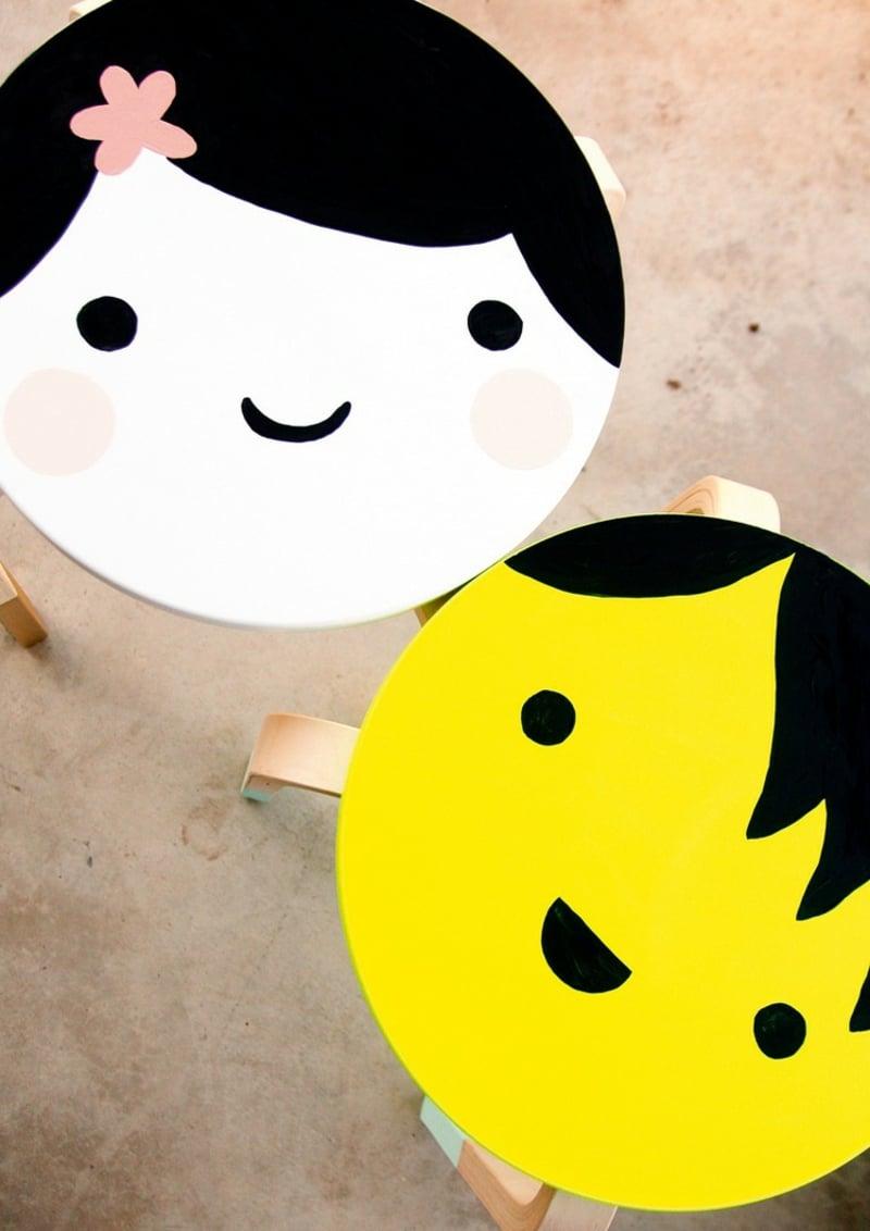 Hocker bemalen tolle Idee für das Kinderzimmer