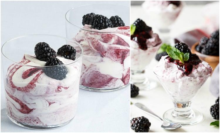 Joghurt mit Brombeeren Dessert im Gals