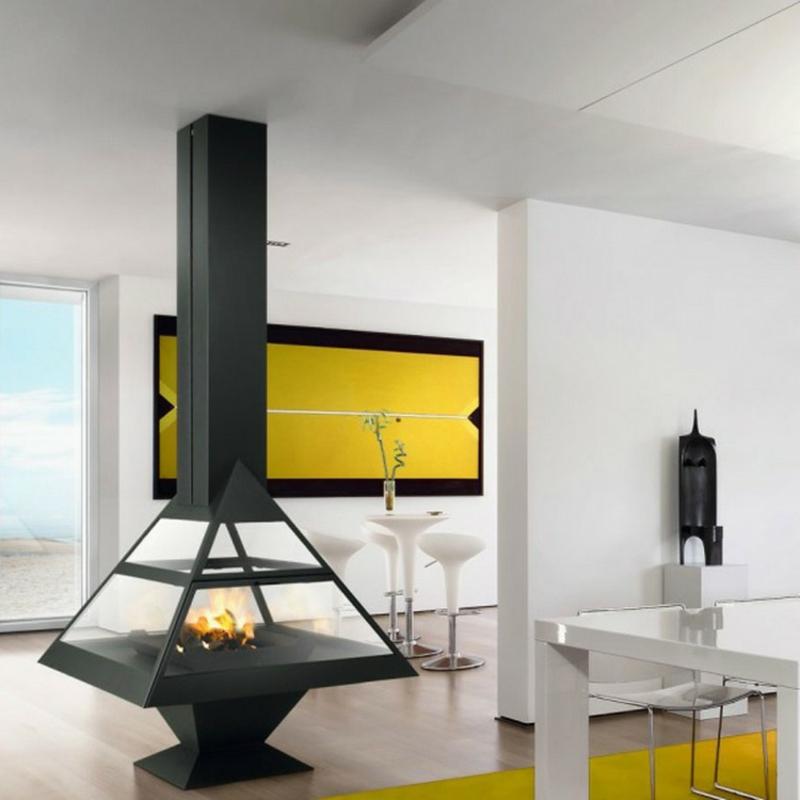 Schwedenofen Stahl Glas modern
